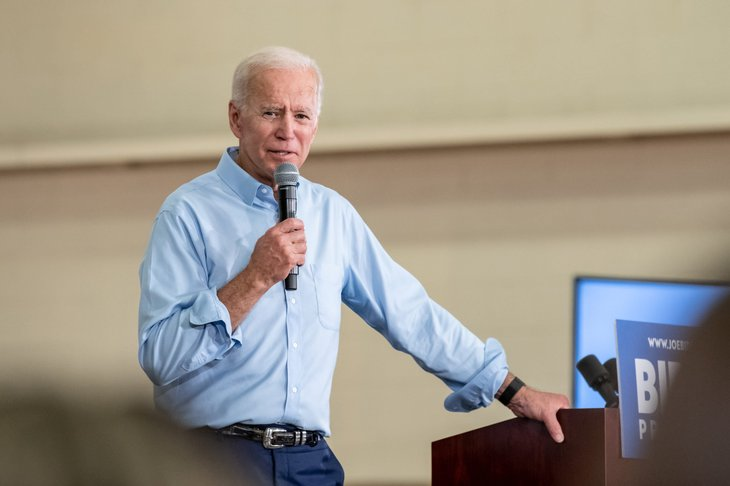 Joe Biden campaigning for better health care