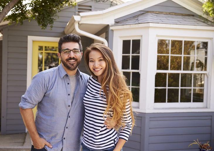 Happy new homeowner couple