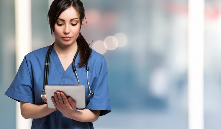 Nurse using tablet