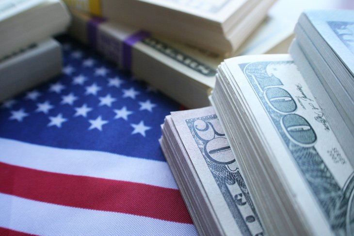 American flag and tax money