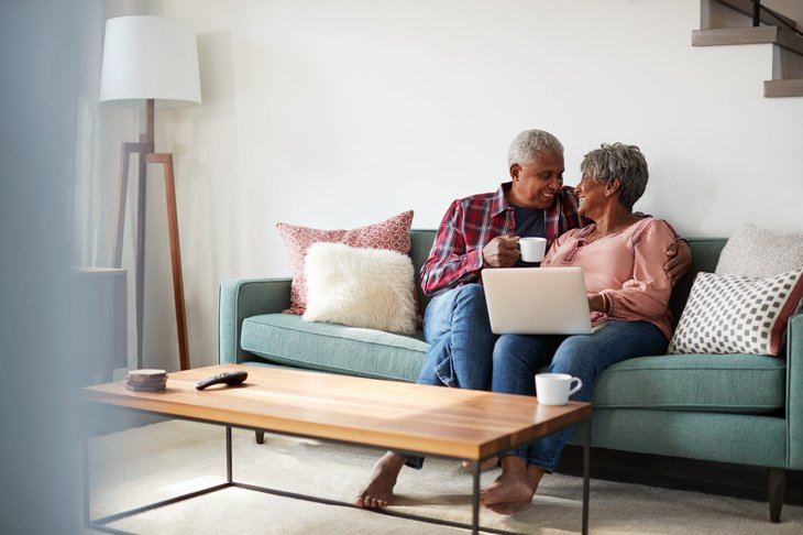 Senior couple happy at home
