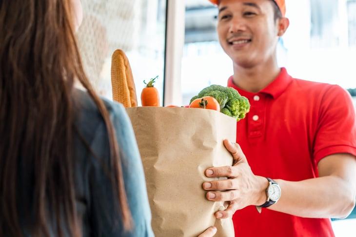 Man delivering a grocery order