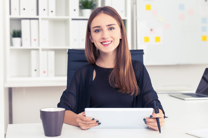 Young employee at first job