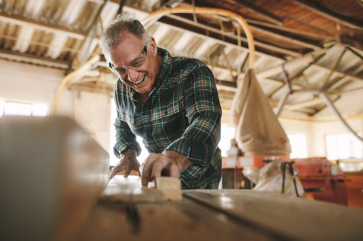 Senior carpenter worker