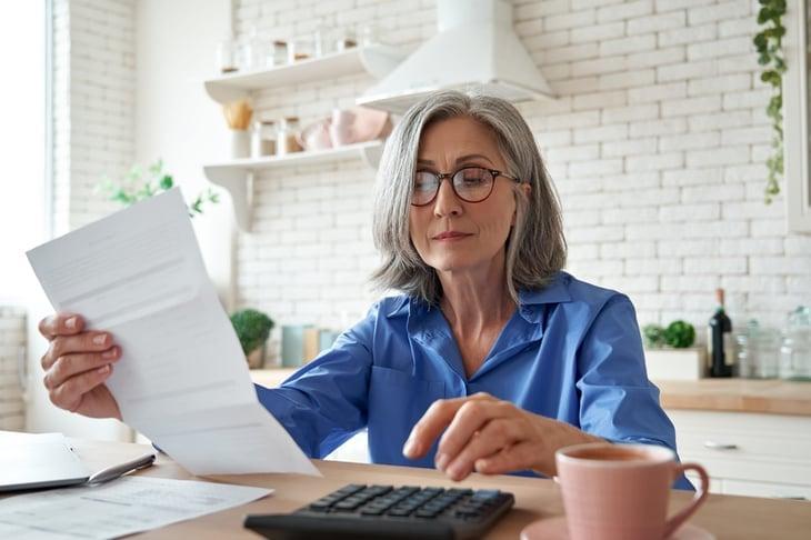 Senior woman preparing for retirement