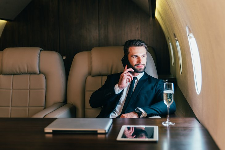 Billionaire on a private jet