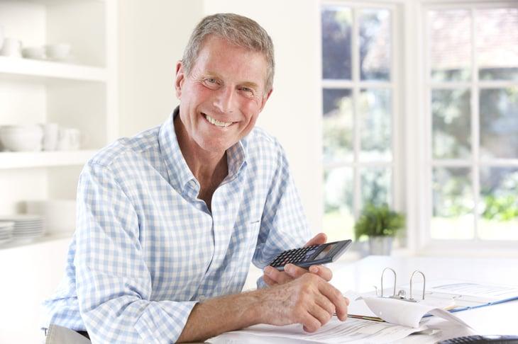 Happy senior planning retirement