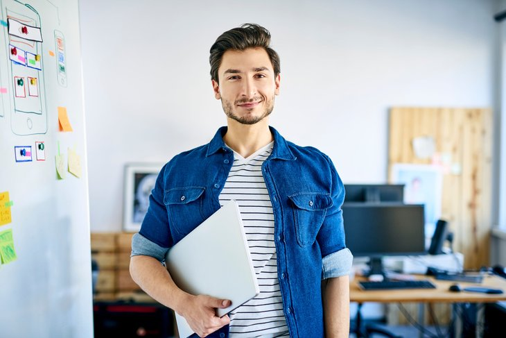 Young self-employed worker ready for work with laptop