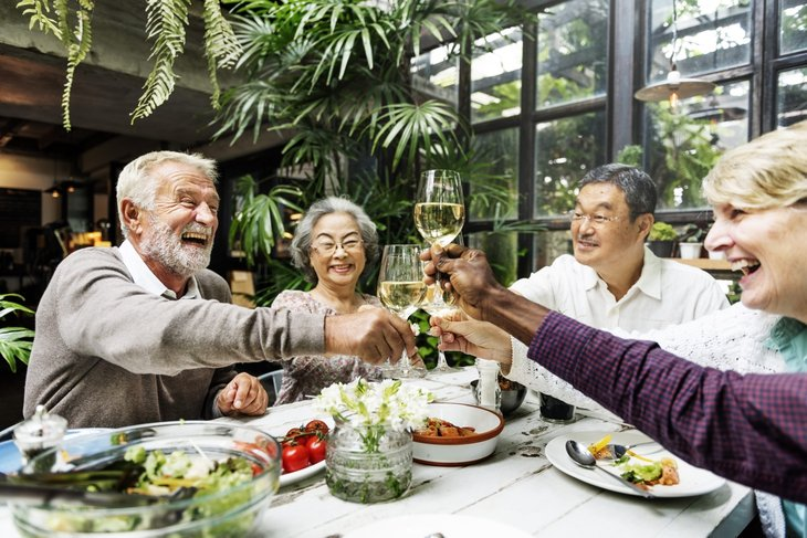 happy retirement seniors dinner