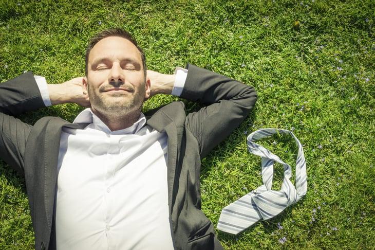man relaxing work life balance