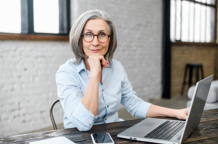 Older woman working