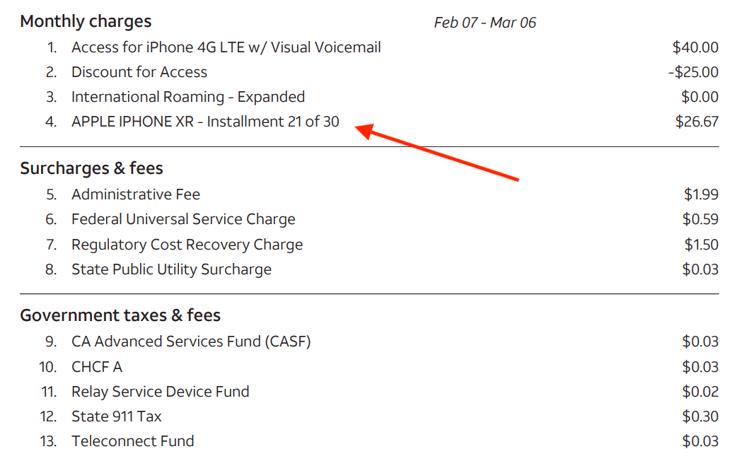 Phone bill example