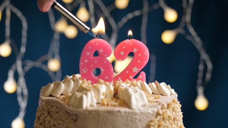 A 62nd birthday cake