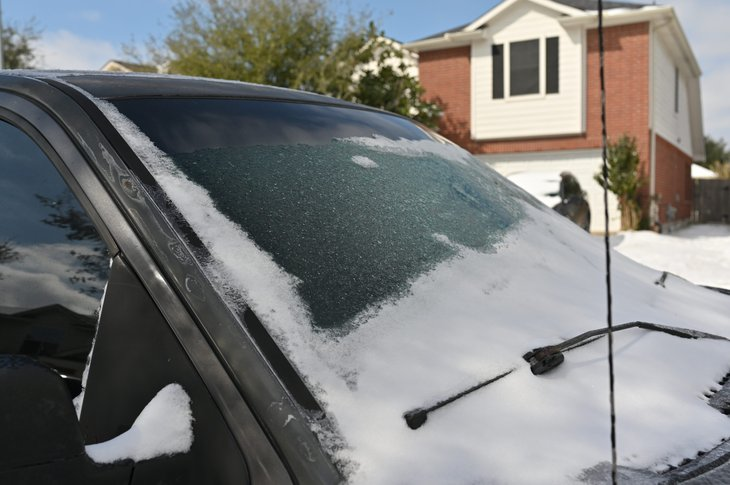 Ice and snow on a car in Houston during a cold snap in February 2021.