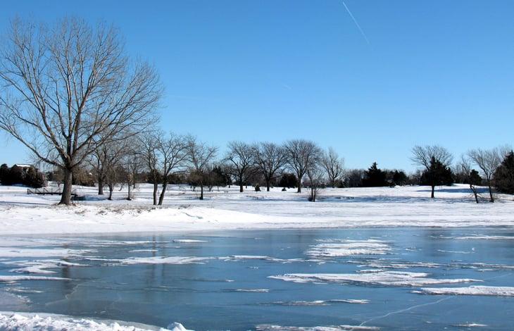 Frozen lake in Hastings, Nebraska