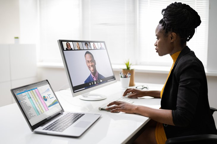 remote worker on video conference
