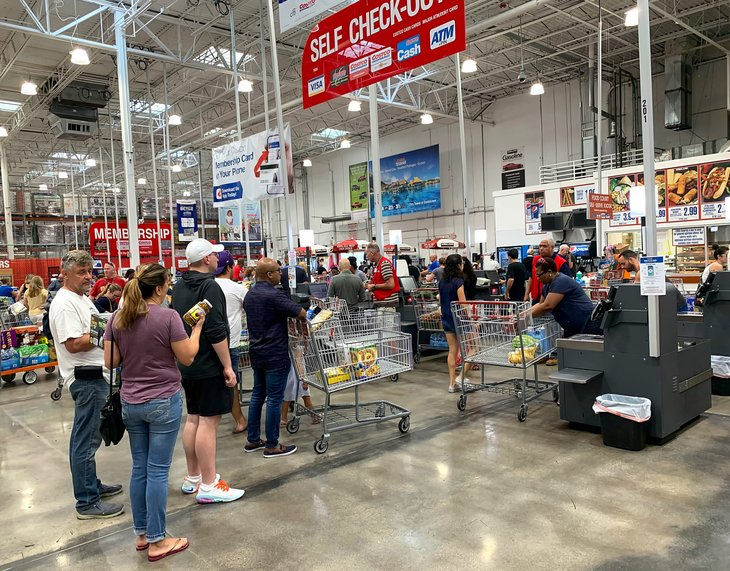Long checkout lines at a Costco warehouse