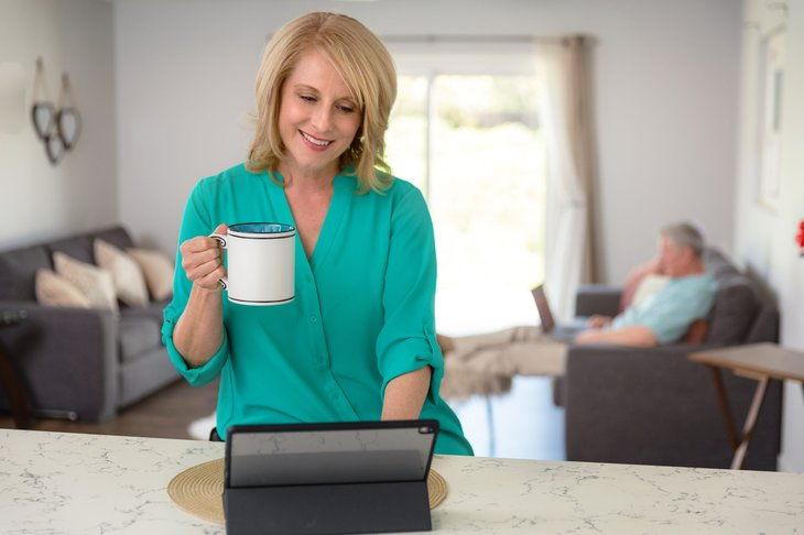 early retirement woman drinking coffee