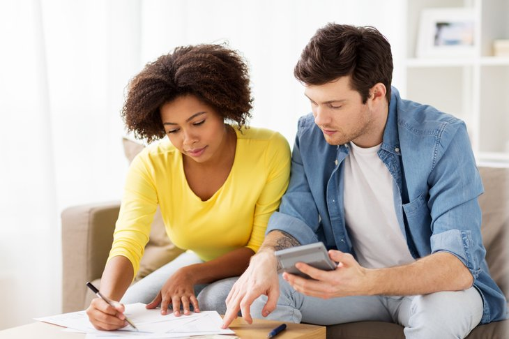 Couple/ working on their taxes