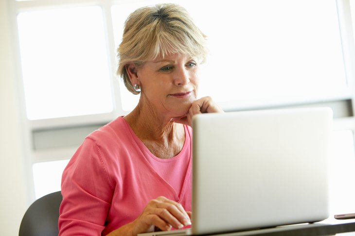 Older woman searching online