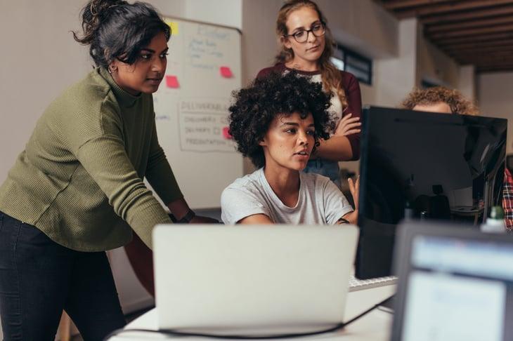 Women tech jobs technology work together