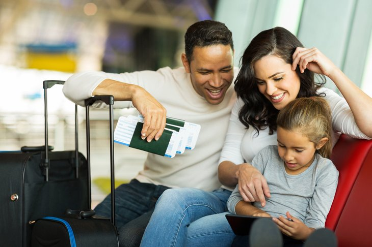 Family together in an airport