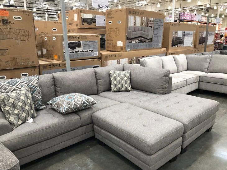 Furniture at a Costco warehouse