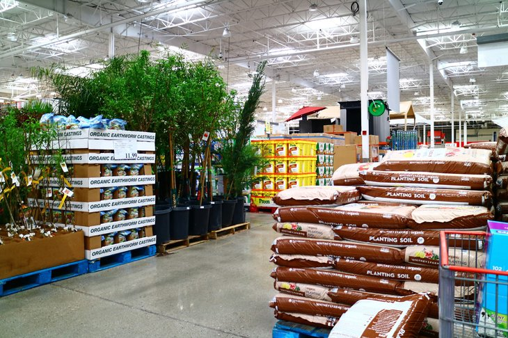 Gardening products at a Costco warehouse