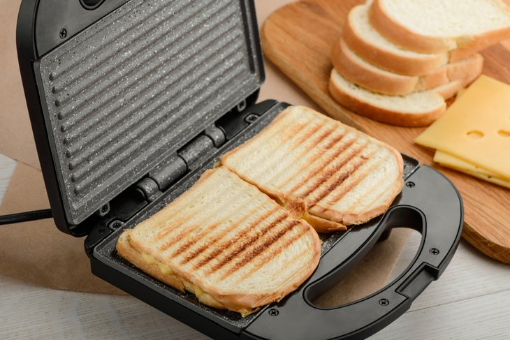 Sandwiches cooked in a panini press