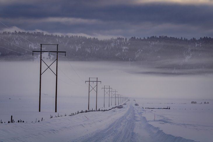 Idaho power lines in winter