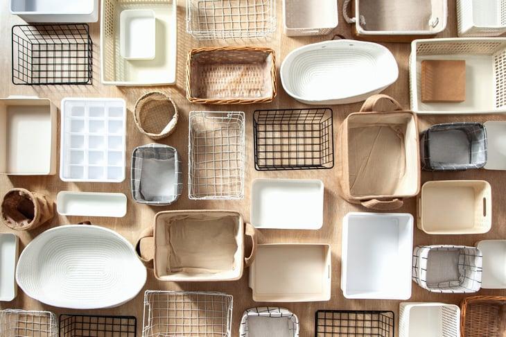 Organizational bins and baskets