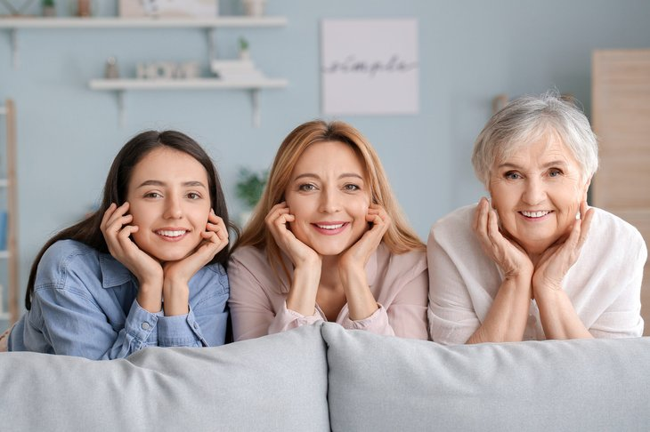 Three generations of women in family