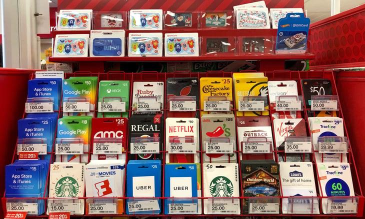 Gift card display at Target