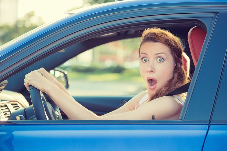 Shocked female driver