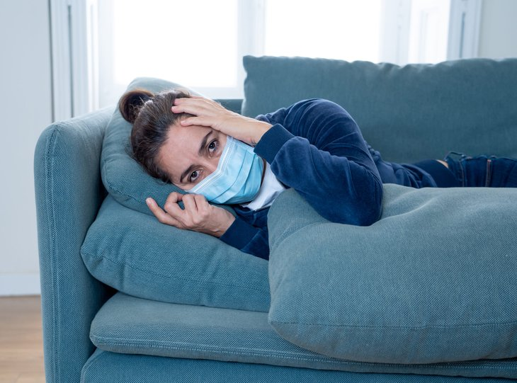 Woman sick with COVID