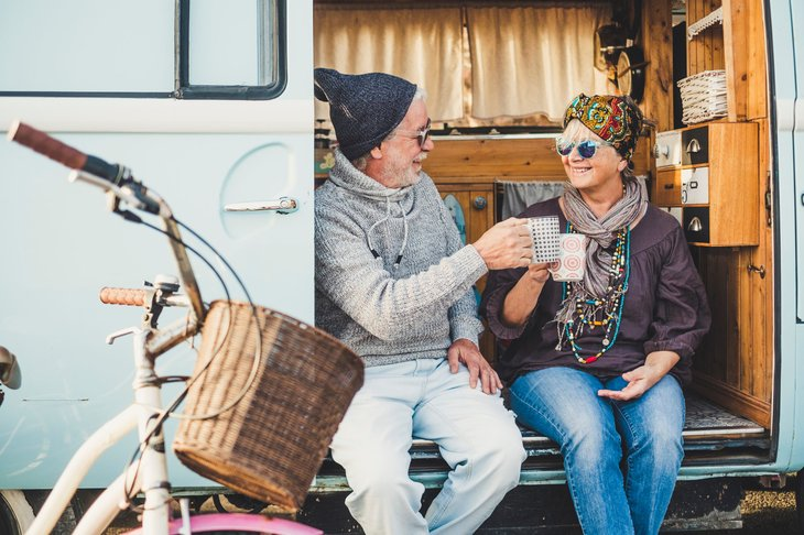 senior hippies living in RV