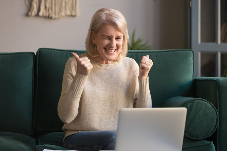 Excited woman on the internet