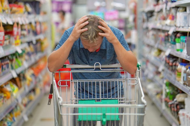 Upset shopper at the grocery store