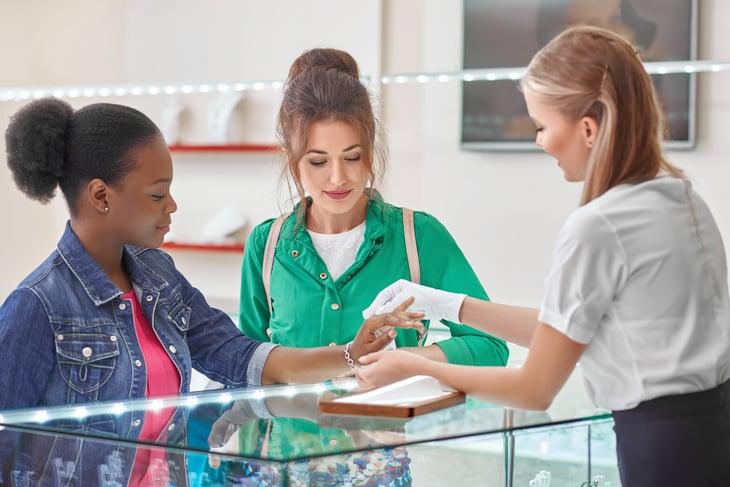 Worker in jewelry store