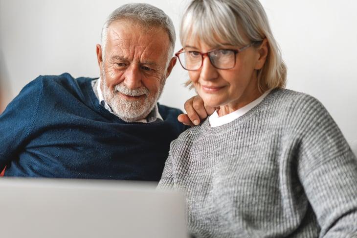 Senior couple at a computer