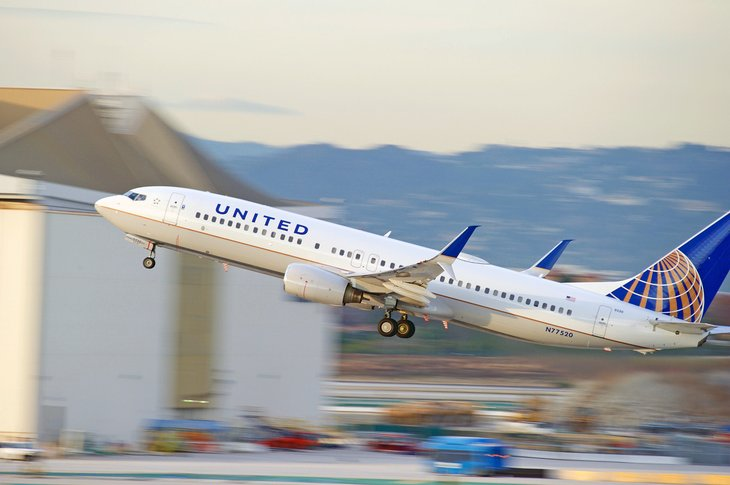 A United Airlines airplane takes flight