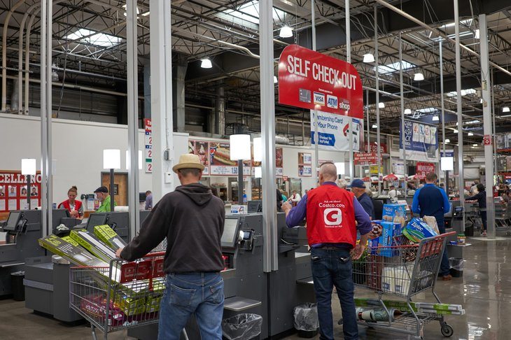 Self-checkout lines at Costco