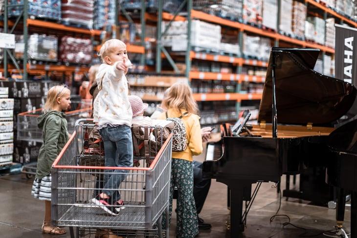 Family shopping at Costco