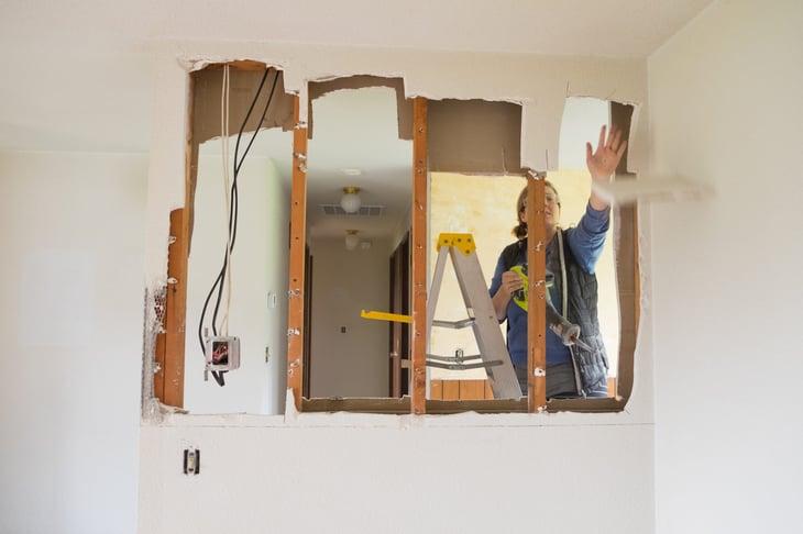 Home renovation removing wall