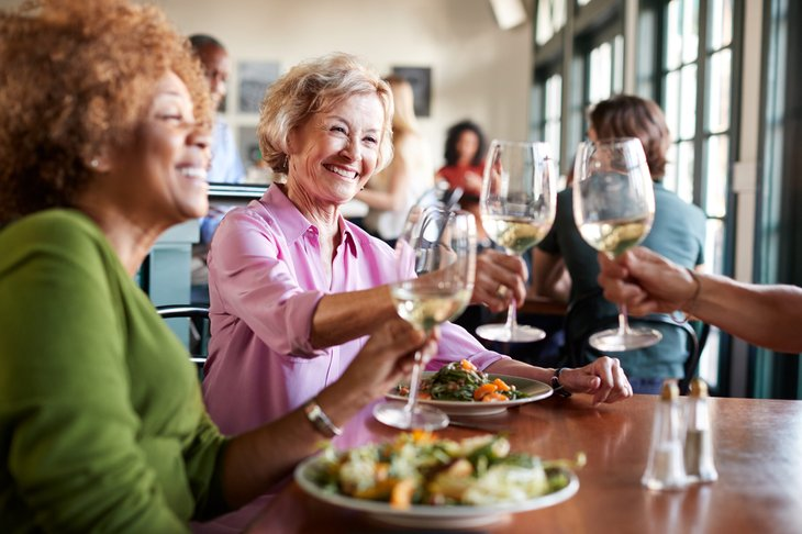 Older women eating at a restaurant