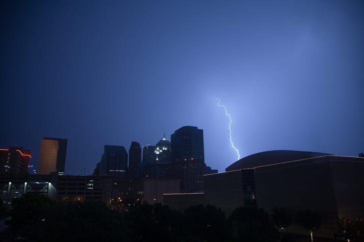 Thunderstorm and lightning in Oklahoma City, Oklahoma