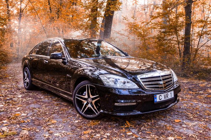 Mercedes Benz S Class in autumn