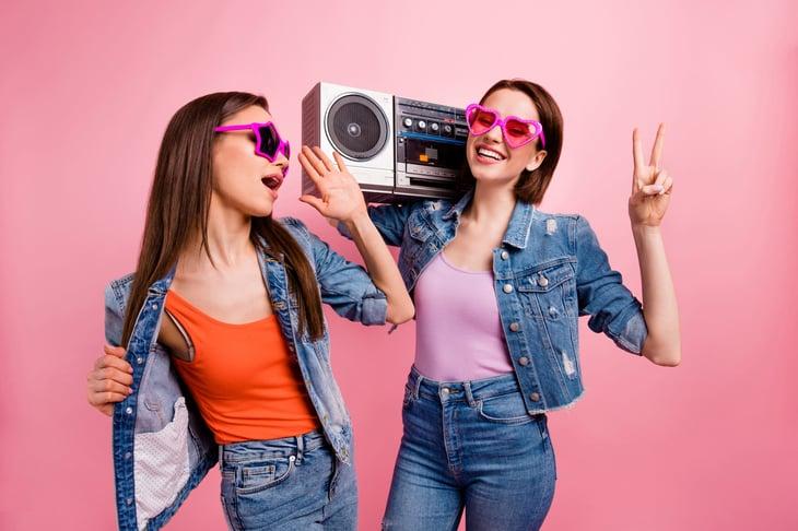 Girls with boombox retro