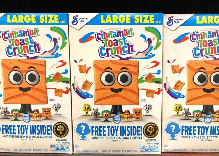 Cinnamon Toast Crunch cereal box with free toy inside