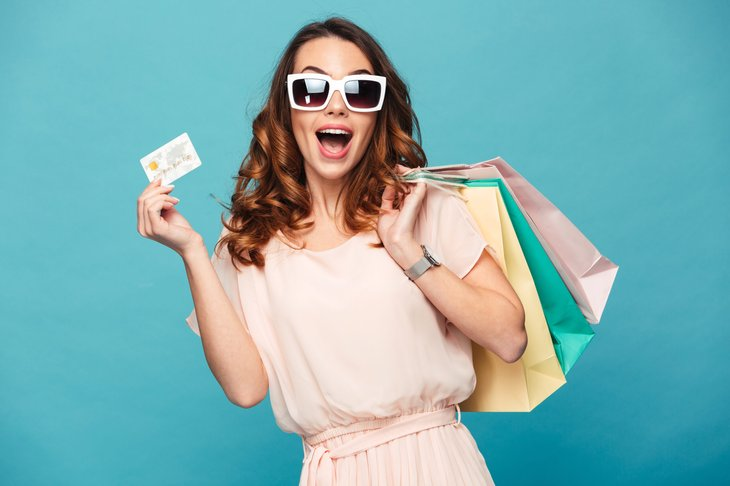 Woman shopping gift card